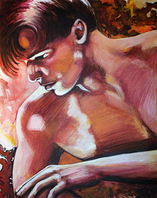 Gay Erotic Art Painting - Centerfold by Rene Capone