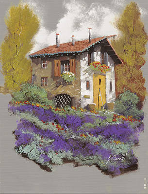 Old Houses Painting - Cento Lavande by Guido Borelli