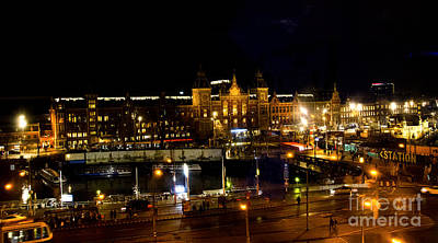 Centraal Station At Night Art Print by Pravine Chester