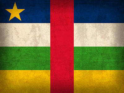 Republic Mixed Media - Central African Republic Flag Vintage Distressed Finish by Design Turnpike