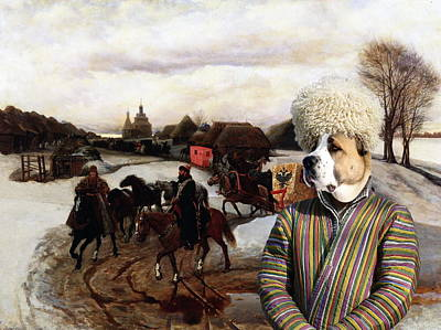 Painting - Central Asian Shepherd Dog Art Canvas Print - The Russian Landscape With Figures by Sandra Sij