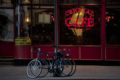 Cafe Photograph - Central Cafe Bicycles by Susan Candelario