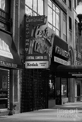 Photograph - Central Camera Chicago - Black And White by Frank J Casella
