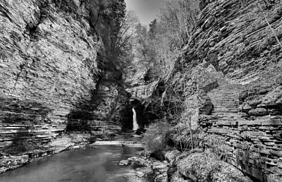 Central Cascade Black And White Art Print by Joshua House