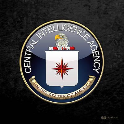 Digital Art - Central Intelligence Agency - C I A Emblem On Black Velvet by Serge Averbukh