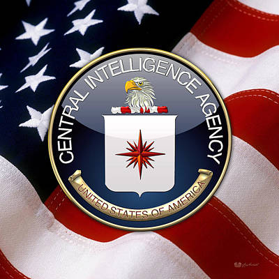 Digital Art - Central Intelligence Agency -  C I A Emblem Over American Flag by Serge Averbukh