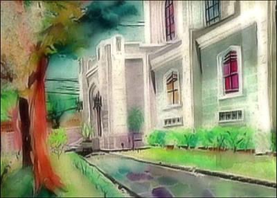 Painting - Central Methodist Church 1965 by Glenn Bautista