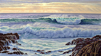 Shore Painting - Central Pacific Surf by Paul Krapf