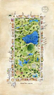 Painting - Central Park And All That Surrounds It by AFineLyne