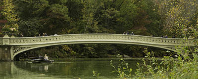 Central Park Bow Bridge Panorama Print by Erin Cadigan