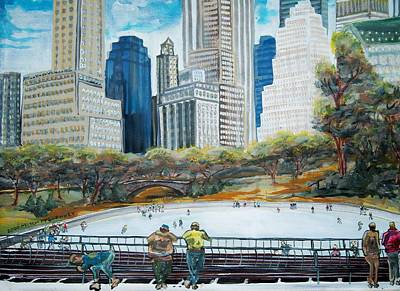 Central Park Ice Rink Art Print by Mitchell McClenney