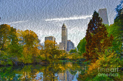Nyc Mixed Media - Central Park In Autumn by Janine Garcia