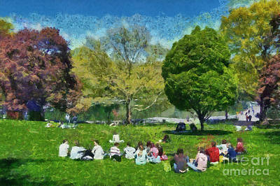 Painting - Central Park In New York by George Atsametakis