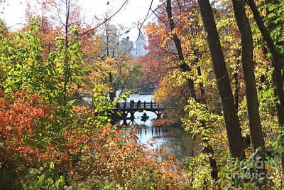 Print featuring the digital art Central Park In The Fall-2 by Steven Spak