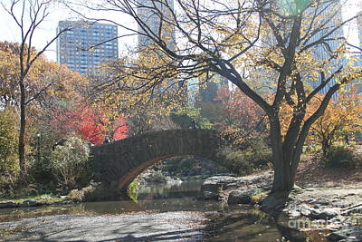 Print featuring the digital art Central Park In The Fall-3 by Steven Spak