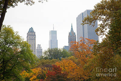 Park Scene Digital Art - Central Park In The Fall by Jonathan Parkes