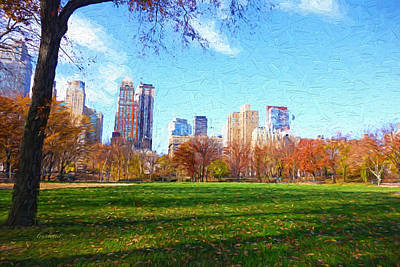Daytime Mixed Media - Central Park On The Green  by Garland Johnson