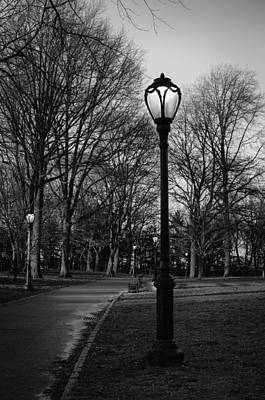 Photograph - Central Park Street Lamps In Black And White by Marianne Campolongo