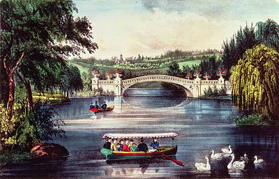Swan Drawing - Central Park   The Bridge  by Currier and Ives