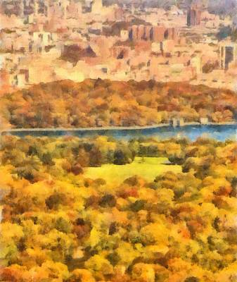 Skylines Paintings - Central Park Watercolor by Dan Sproul