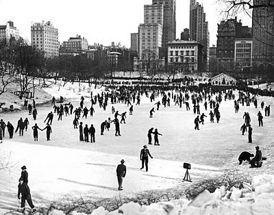 Crowd Scene Photograph - Central Park Winter Carnival by Underwood Archives