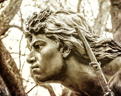 Statuary Photograph - Central Park's Indian Hunter Statue by Jon Woodhams