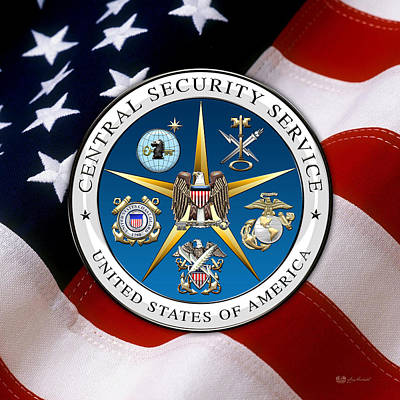 Central Security Service - C S S Emblem Over American Flag Original by Serge Averbukh