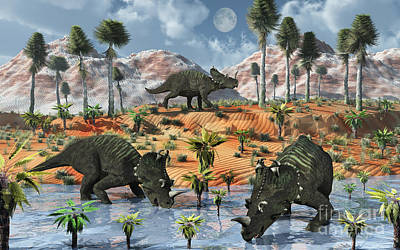 Three Rivers Digital Art - Centrosaurus Dinosaurs At A Watering by Mark Stevenson