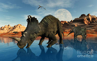 Centrosaurus Dinosaurs Grazing Art Print