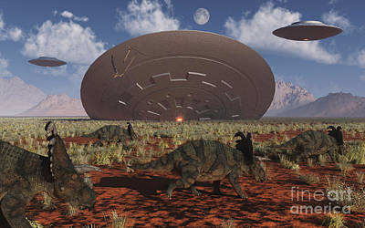 Extraterrestrial Existence Digital Art - Centrosaurus Dinosaurs Walk Past A Ufo by Mark Stevenson