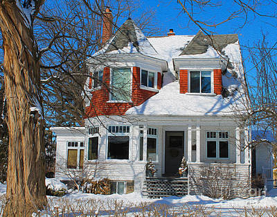 Photograph - Century Home In Winter 11 by Nina Silver