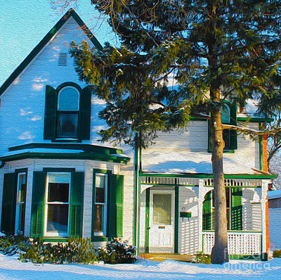 Photograph - Century Home In Winter 4 by Nina Silver