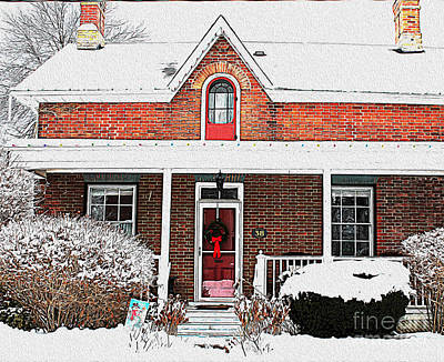 Photograph - Century Home With Christmas Wreath by Nina Silver