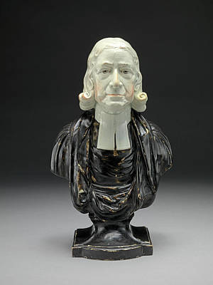Ceramic Drawing - Ceramic Bust Of The Reverend John Wesley In Clerical Collar by Litz Collection