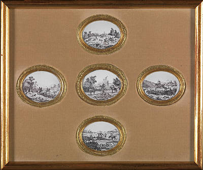 Ceramic Hunting Scenes Five Oval Plaques In One Frame Art Print