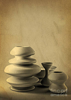 Glazed Pottery Digital Art - Ceramic Pottery Still Life I - Charcoal Sketch by Beverly Claire Kaiya