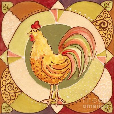 Painting - Ceramic Rooster by Anna Skaradzinska