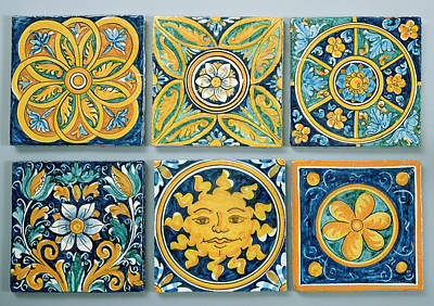 Floral Design Photograph - Ceramic Tiles In The Typical Caltagirone Style Ceramic by Italian School