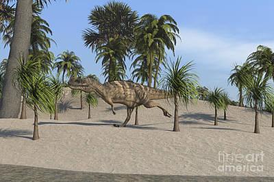 Running Digital Art - Ceratosaurus Running Across A Tropical by Kostyantyn Ivanyshen