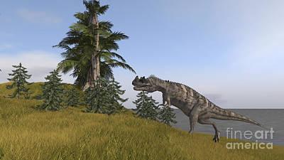 Running Digital Art - Ceratosaurus Running Up A Hill by Kostyantyn Ivanyshen