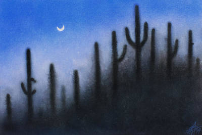 Painting - Cerberi Or Saguaro Cacti At Sabino Canyon by Robin Street-Morris