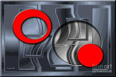 Contemporain Art Relief - Cercles Rouges Et Chromes 005 by Guy  GRESSER