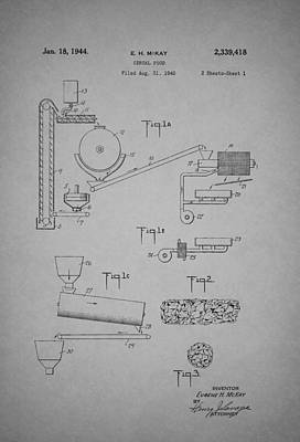 Machinery Drawing - Cereal Food Machine Patent 1944 by Mountain Dreams