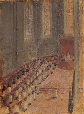 Ceremony Of Ordination At Lyon Cathedral Art Print by Edgar Degas