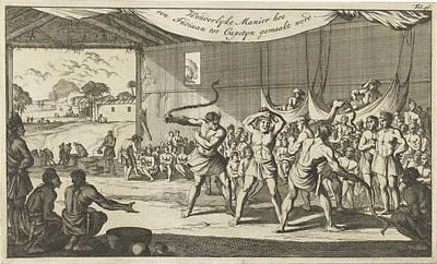 Exposed Drawing - Ceremony Of The Indians, Caspar Luyken, Jan Claesz Ten Hoorn by Caspar Luyken And Jan Claesz Ten Hoorn