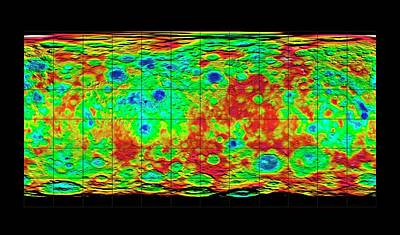 Surface Feature Photograph - Ceres Topography by Nasa/jpl-caltech/ucla/mps/dlr/ida