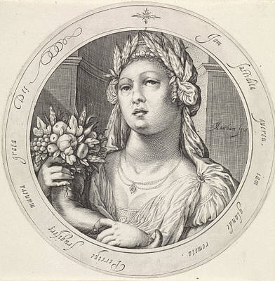 Cornucopia Drawing - Ceres With Cornucopia, Jacob Matham by Jacob Matham