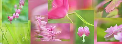 Cerise Pink Green Collage Art Print