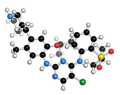 Pharmacology Photograph - Ceritinib Cancer Drug Molecule by Molekuul