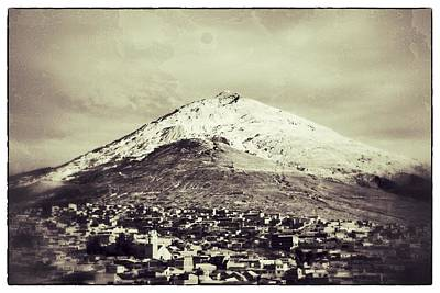 Cerro Rico Potosi Black And White Vintage Art Print